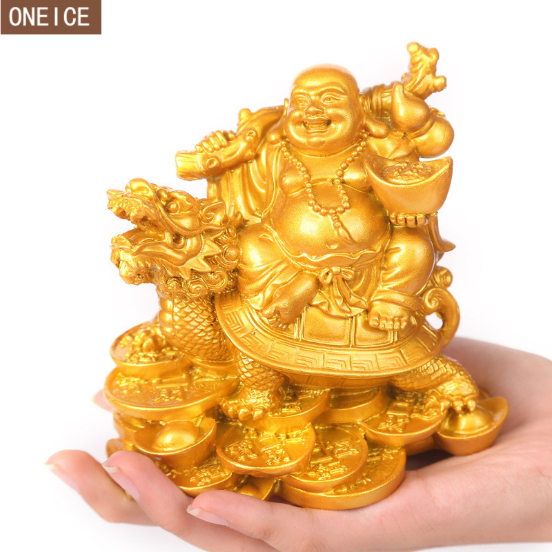 Laughing Buddha  Sculpture Modern Art Resin Buddha Riding Dragon Turtle Statue Home Decoration Accessories Wealth Buddha Statue