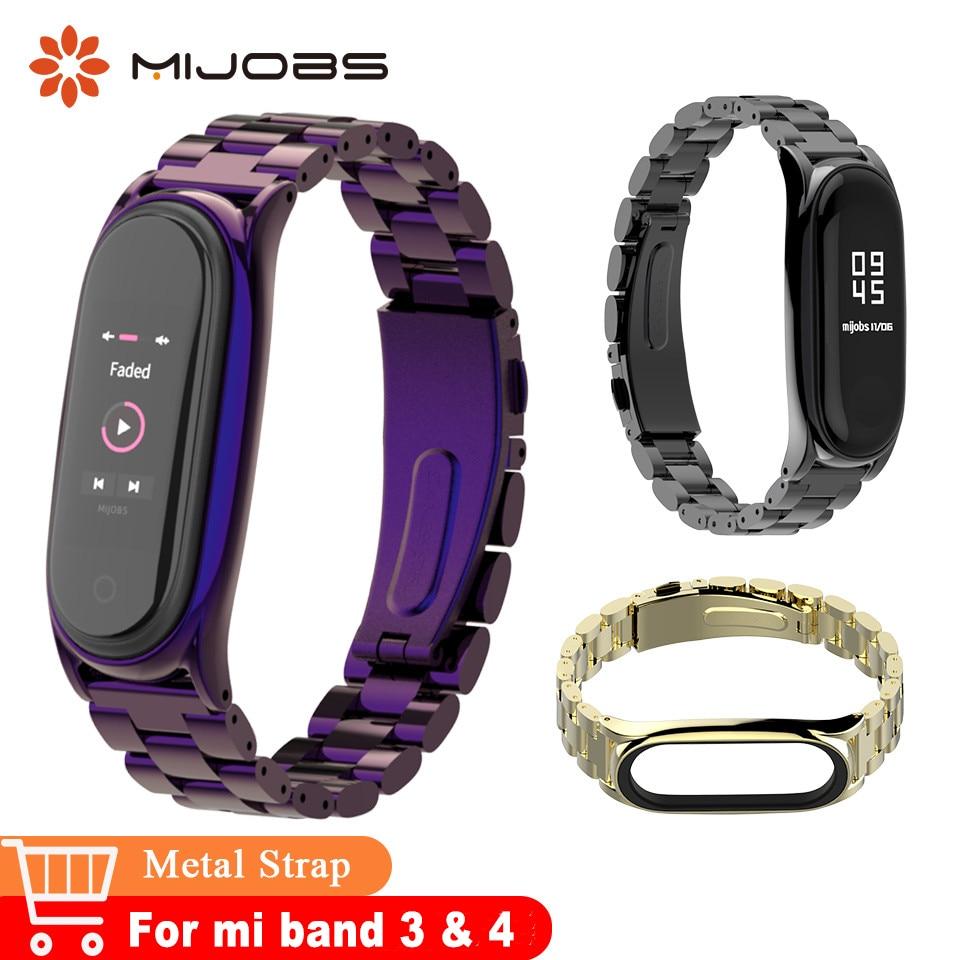 Mijobs Mi Band 4 Metal Wrist Strap Stainless Steel For Xiaomi Mi Band 3 Bracelet Accessories Smart Watch Mi4 Wristbands Miband 4