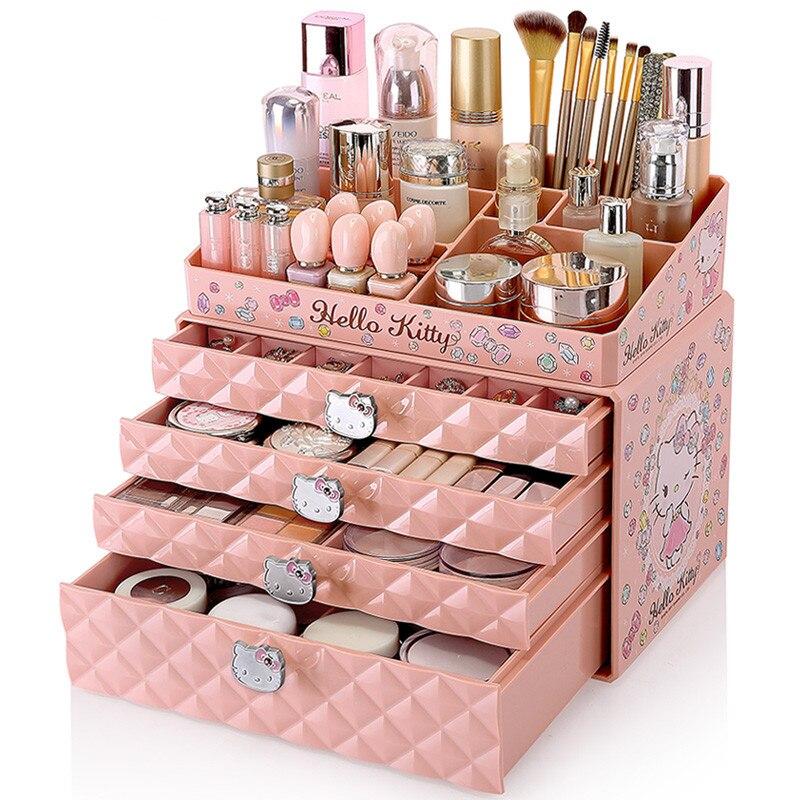 Hello Kitty cosmétiques boîte de rangement bureau grand tiroir-style bijoux stockage dortoir collection déesse maquillage organisateur