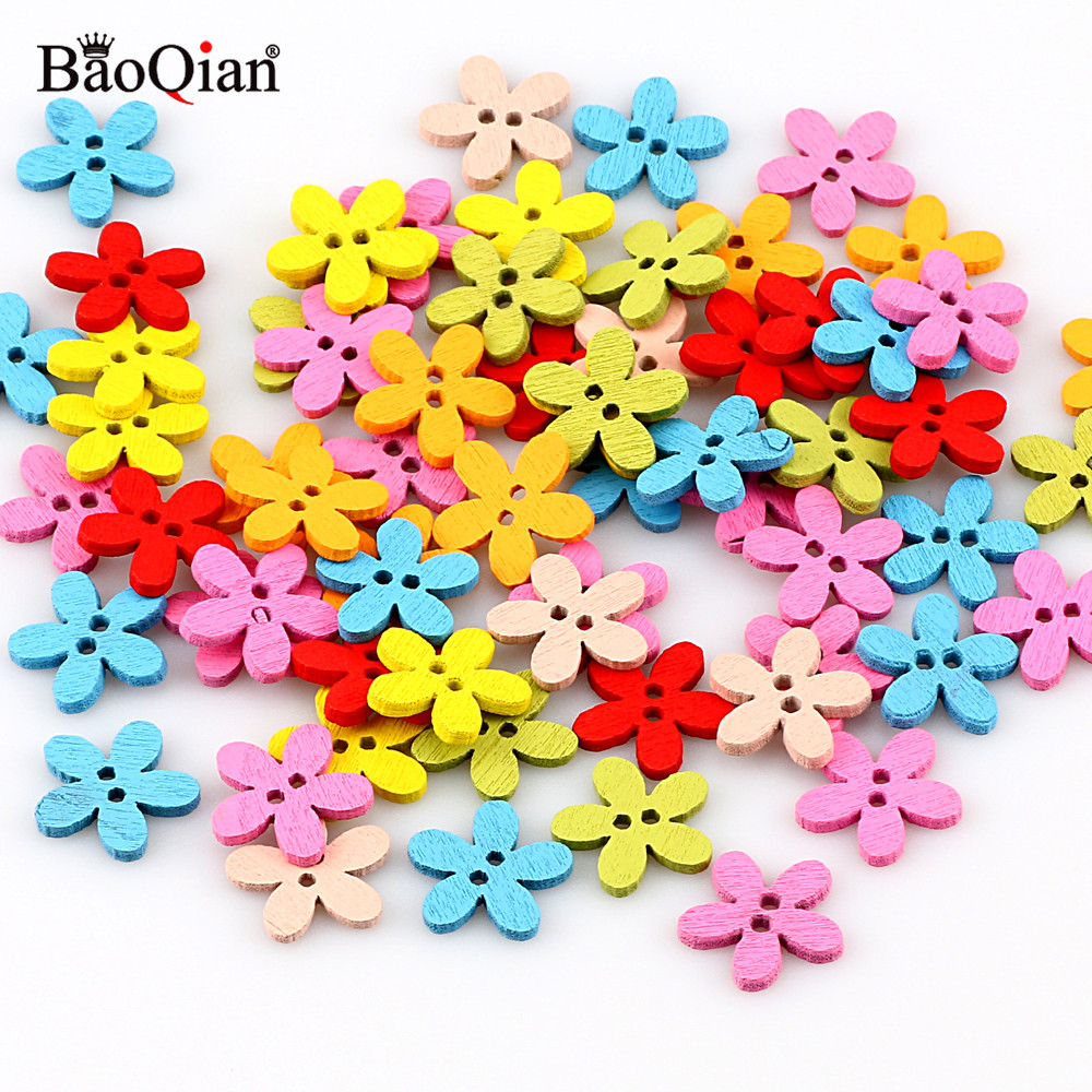100Pcs Wooden 2 Holes Mixed Round Flower DIY Button Sewing Scrapbooking Craft