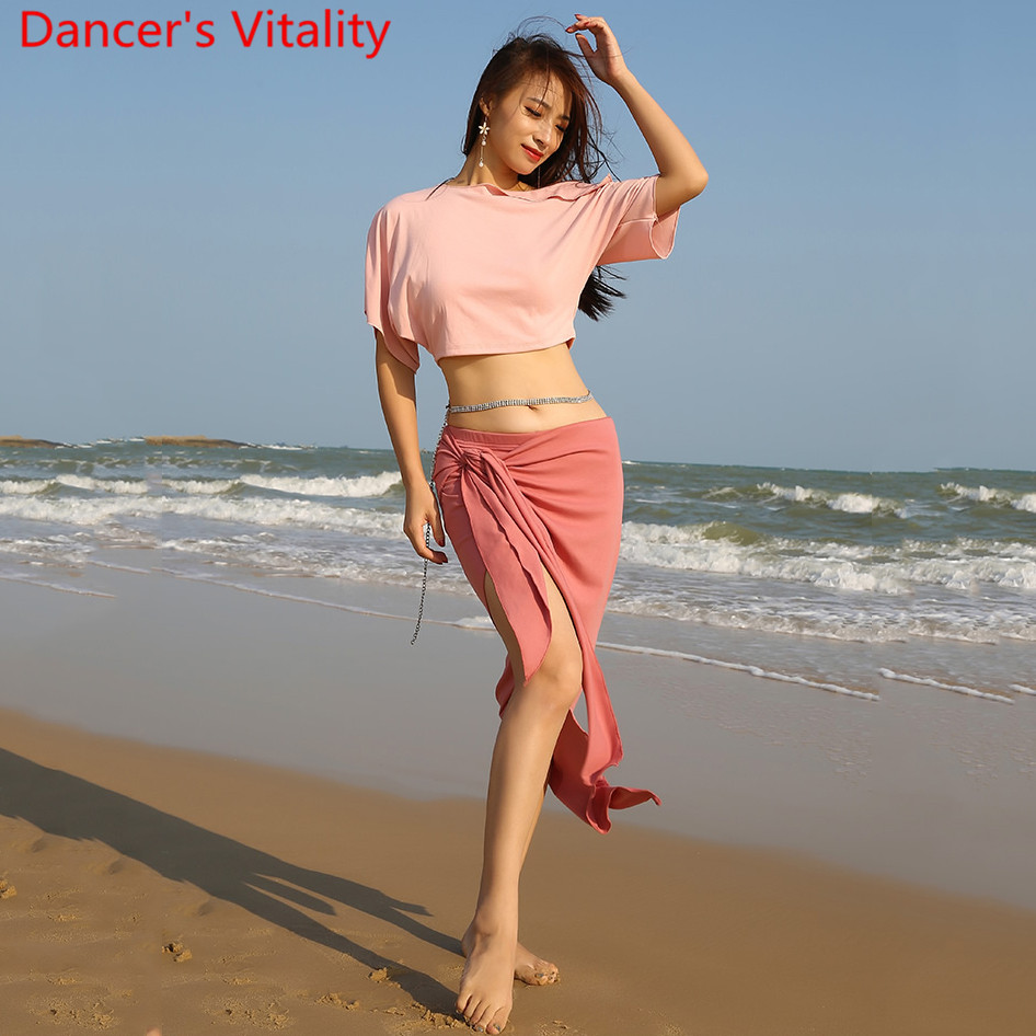 New Belly Dance Practice Clothes Color Diversity Top Bandage Skirt Set Oriental Indian Dancing Matching Beginners Practice Cloth