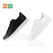 Original Xiaomi Mijia Leder Platte Schuhe Männer Mode Komfortable Anti slip Freizeit Echtem Leder Sneaker Unterstützung Smart Chip