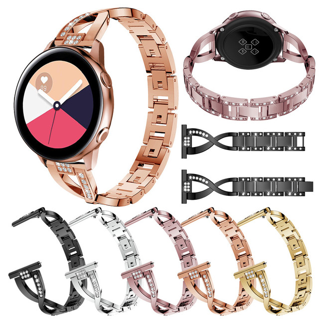 20mm Stainless Steel Watchband for Samsung Galaxy Watch active 2 Release Strap Wrist bands For Samsung Gear sport S2 watch Bands
