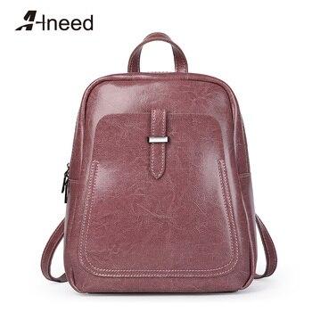 ALNEED Women Genuine Leather Backpacks Students School Shoulder Bag for Teenage Girls Luxury Backpack Ladies Travel Daypack