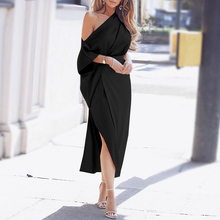 VONDA Women Dress Sexy One Off The Shoulder Casual Solid Color Irregular Dresses Plus Size Casual Loose Party Bohemian Vestidos