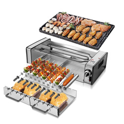 Double layers Electric bbq grill hotpot  smokeless grill indoor grill electric familyparty restaurant equipment 360C revolve