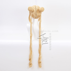 Image 3 - Sailor Moon Double Ponytail Long Straight Blonde  Synthetic Cosplay Wig for Halloween Costume Party