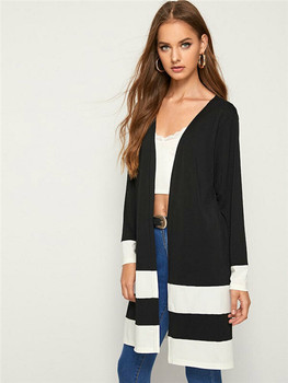 2019 Ladies Long Style Black White Patchwork Pattern Cardigan Outwear Women Office Business Casual Long Sleeve Coat
