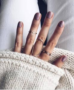 Bague Femme 4pcs/set Fashion Big Oval Open Cuff Ring Sets For Women New Vintage Gold Midi Finger Rings Party Jewelry Accessories(China)