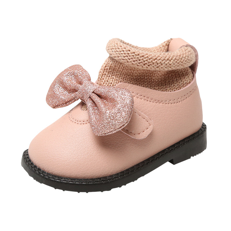 Microfiber Leather Girls Boots Baby Bowknot Fashion Socks Shoes Kids Winter Zipper First Walkers Prewalkers High Quality New