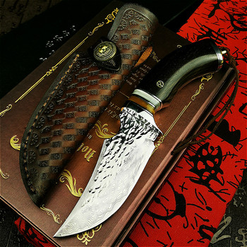 PEGASI High-end ebony handle tactical straight knife Damascus handmade hunting knife outdoor rescue knife collection art knife 1piece damascus steel knife blanks gift collection straight knife tea knife blanks tea tools needle