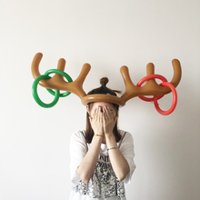 1 Set Inflatable Antlers Shape Toy Family Party Fun Throw Rings Interactive Game Kids Adult Hat ring toss Headband NEW Year Gift