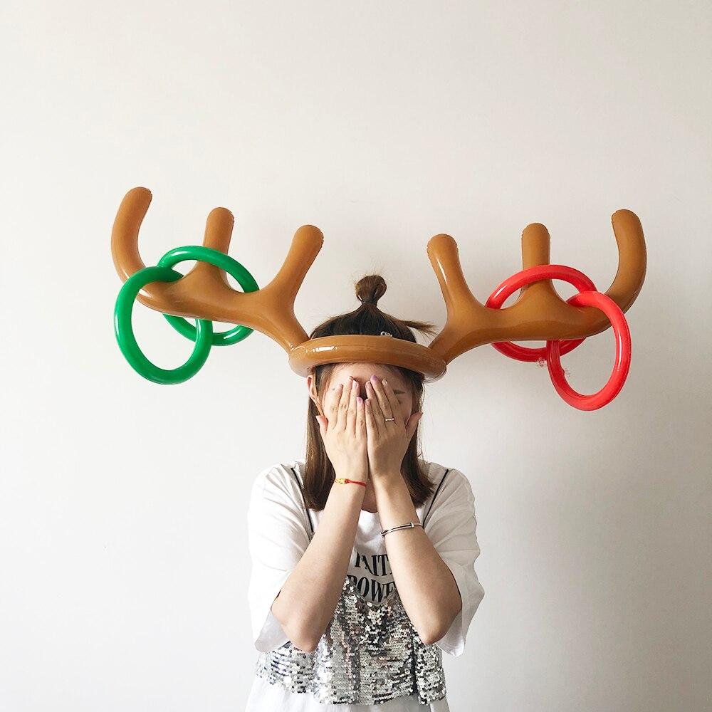 1 Set 풍선 뿔 모양 장난감 가족 파티 재미 던져 반지 대화 형 게임 어린이 성인 모자 반지 토스 머리띠 새해 선물