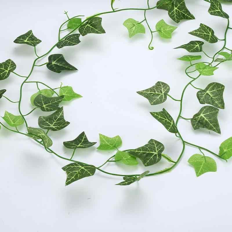 Buatan Ivy Hijau Daun Garland Tanaman Vine Palsu Dedaunan Dekorasi Rumah Rotan Plastik String Dekorasi Dinding Buatan Tanaman