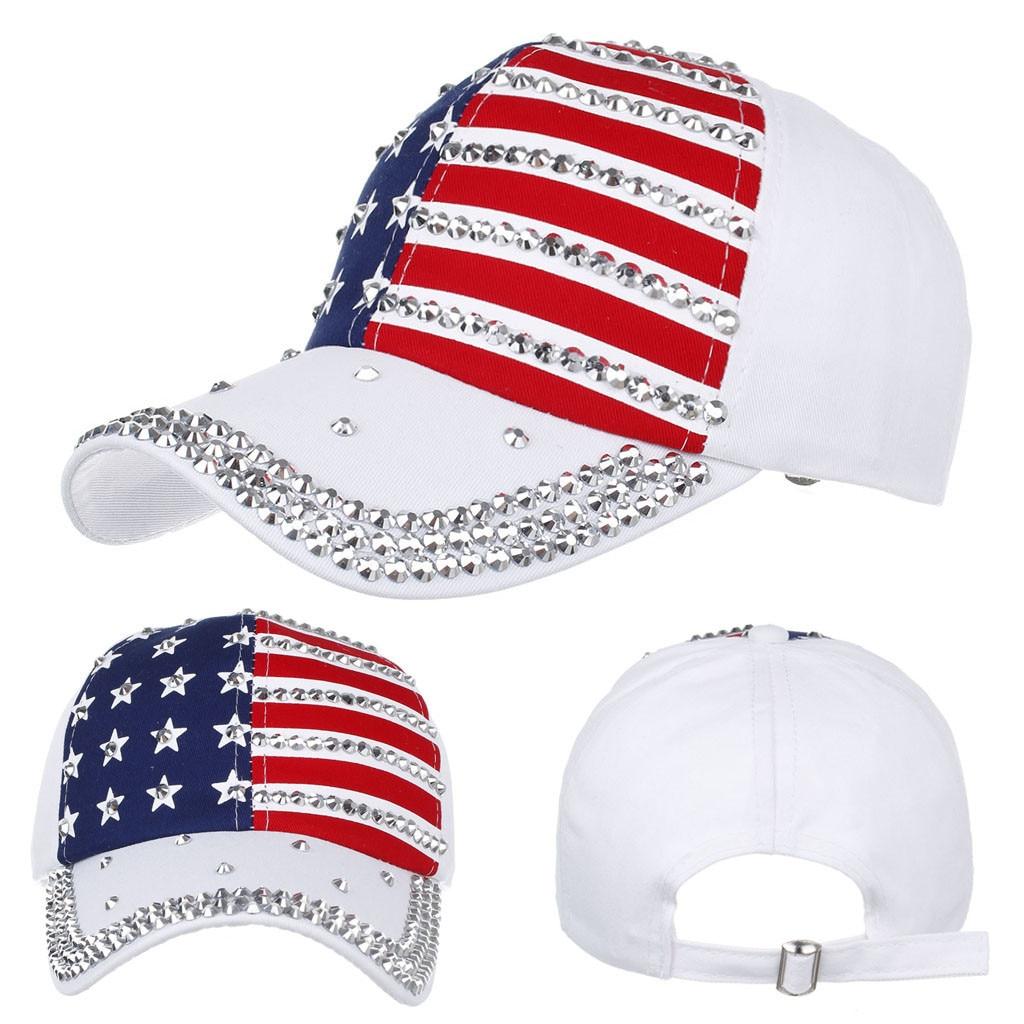 Бейсболка с вышивкой американского флага, джинсовая кепка с заклепками, модная кепка в стиле хип-хоп унисекс, женские и мужские аксессуары, ...