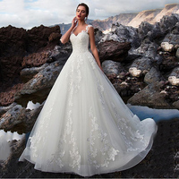 Tulle V Neck A line Wedding Dresses Sexy Backless Lace Appliques Court Train Bridal Gown Customized Robe De Mariage Wedding Gown