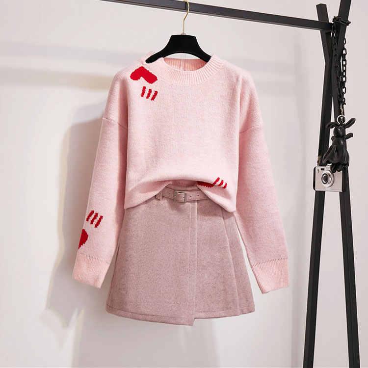 Panie różowy dzianiny garnitur 2 sztuka zestaw jesień kobiet w stylu Vintage miłość żakardowe swetry sweter topy + wełniana Mini spódnica dwuczęściowy zestaw