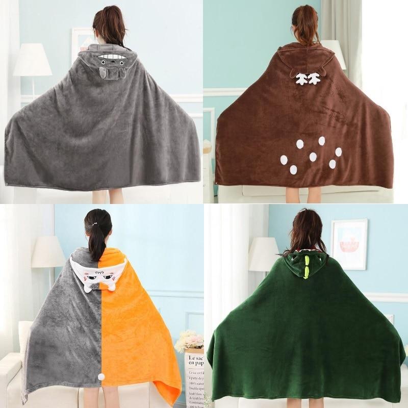 Wearable Hooded Blanket Cute Kid Cartoon Totoro Elk Plush Blanket Warm Soft Throw Blankets Adult Shawl Aircondition Blanket