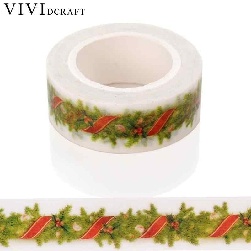 Vividcraft 日本和紙テープ紙ステッカークリスマス DIY 印刷テープクラフトパターン粘着スクラップ St マスキング予約デコ J3X8