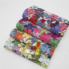 DIY Sewing hair bow purse Accessories Flower printed Faux Artificial Synthetic Leather Fabric Upholstery 20x22cm
