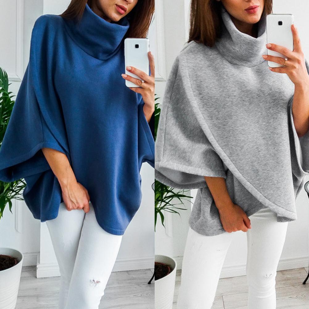 New Sudadera Mujer Fashion Women High Neck Batwing Crossed Poncho Winter Warm Coat Cloak Cape Fashion толстовка женская