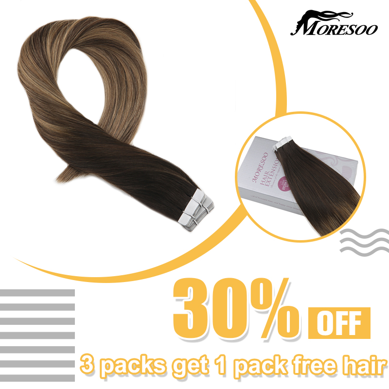 Волосы для наращивания Moresoo на ленте, человеческие волосы для наращивания, волосы Remy, Balayage, цвет Омбре # 1B до #3, коричневый, с #27 блонд