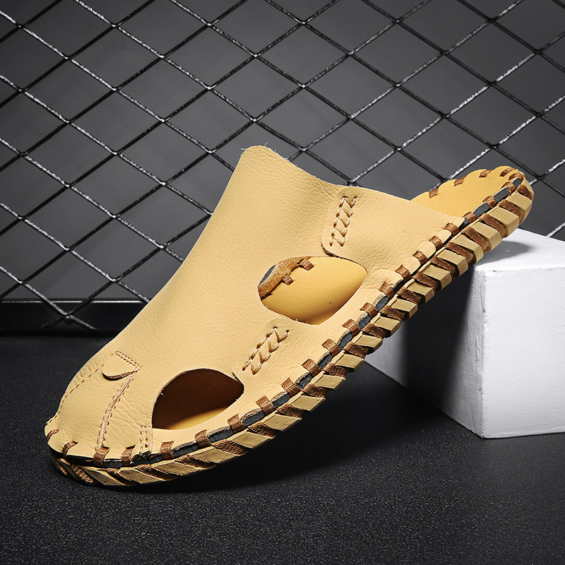 Summer Men's Sandals Casual Beach Shoes High Quality Handmade Sole Sandals Retro Style Trendy Mens Shoes