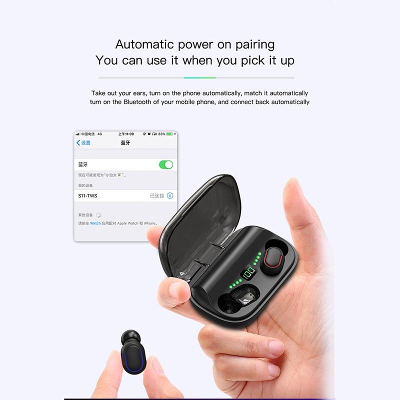Цифровой дисплей смарт-Bluetooth-гарнитура отпечатков пальцев Touch автоматическое подключение в-ухо шумоподавления