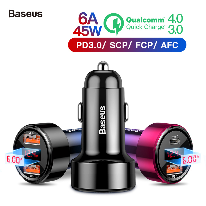 Baseus 45W Car Charger for iPhone Samsung Huawei Dual USB Type C Mobile Phone Charger Metal Car Charging QC3.0 4.0 Quick Charge