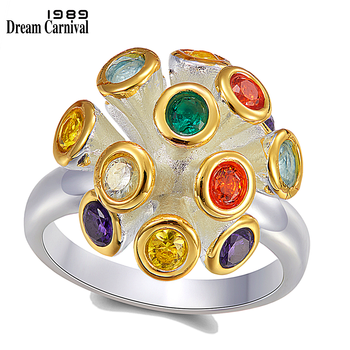 DreamCarnival1989 Original Flower-Ring for Women Multi-Colors Zirconia Delicate Feminine Jewelry Rings Dating Must Have WA11776 1
