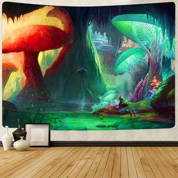 Simsant Psychedelic Shrooms Tapestry Colorful Abstract Trippy Tapestry Wall Hanging Tapestries for Home Dorm Fantasy Decor 45