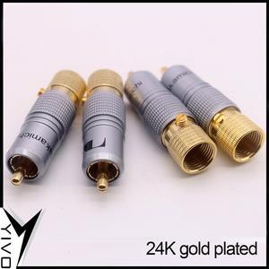Image 4 - 8 pçs yivo xssh hi end alta fidelidade diy latão 62% chapeamento de cobre 24k ouro macho áudio vídeo rca plug conector plugues jack
