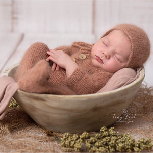 Image 4 - Newborn footed romper photography props,handmade mink yarn outfits bodysuit with bonnet baby photography props