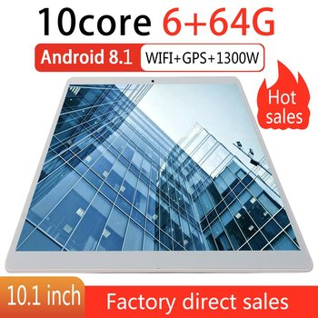 V10 Classic Tablet 10.1 Inch HD Large Screen Android 8.10 Version Fashion Portable Tablet 6G+64G White Tablet White EU Plug