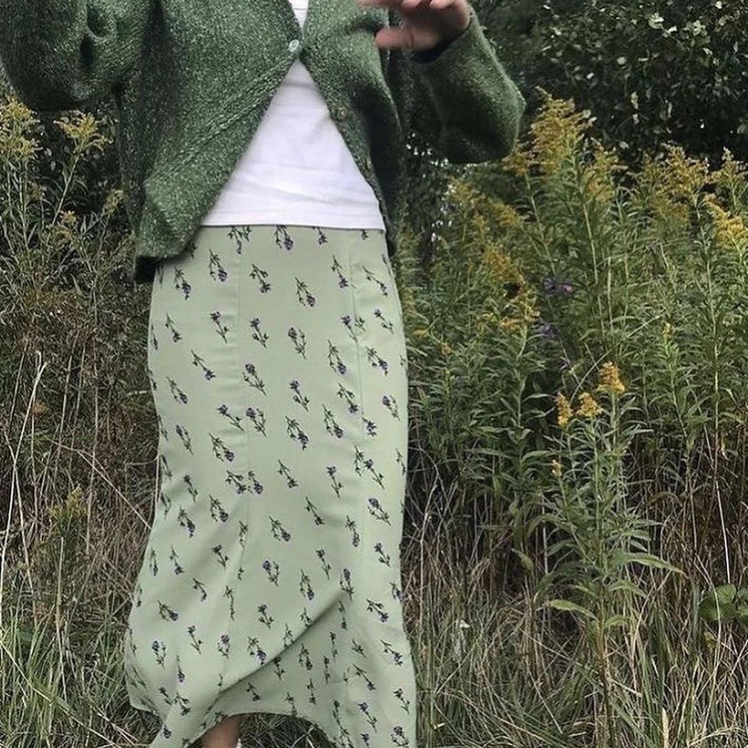 Wist Skirt Light Green Floral High Waist Midi Skirt Women Summer Aesthetic  e girl Streetwear /
