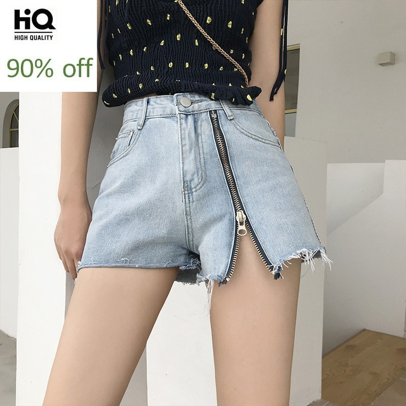 Hot Sexy Summer High Waist Womens Denim Shorts Fashion Zipper Fly Ripped Tassel Punk Style Casual Loose Female Wide Leg Shorts