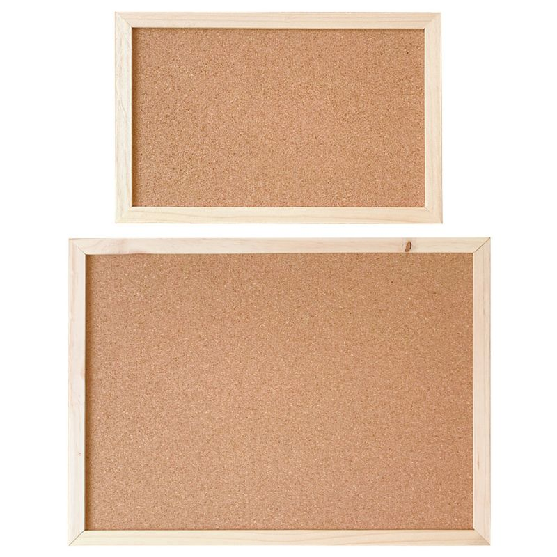 2 Pack Large Cork Pin Notice Board Bulletin Vision Boards for Home Bedroom Offices Memo Message Pictures Planner Display Organiser Wood Frame Corkboard with 50 Push Pins and Wall Mount Screws