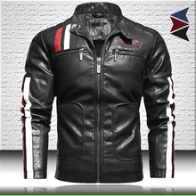 Motorcycle Bomber-Jacket Biker-Leather Coat Trendy Mens New Embroidery with Epaulet