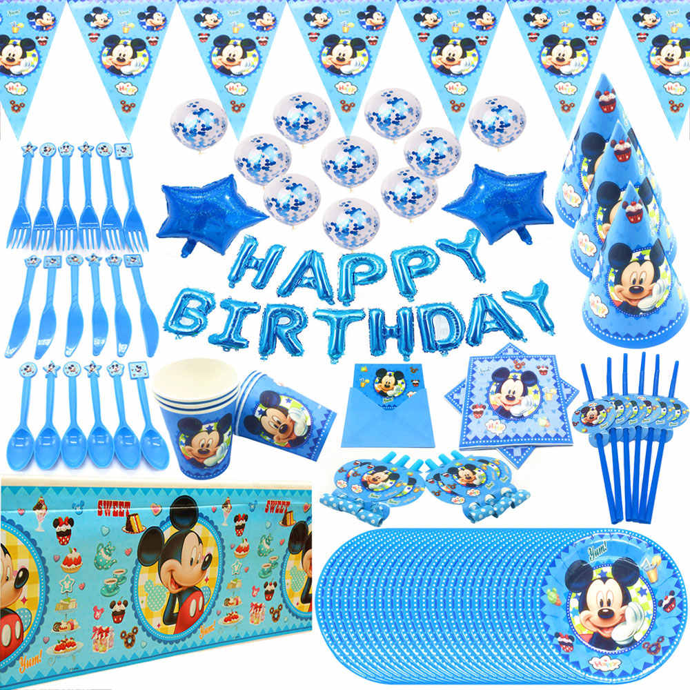 Blue Mickey Mouse Happy Birthday Party Decorations Kids Plate Cup Straw Napkins Disposable Tableware Baby Shower Event Party Set
