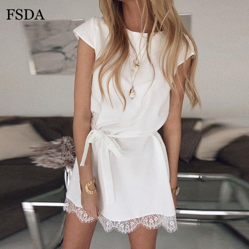 FSDA Lace Patchwork Sashes Summer Mini Dress Casual Elegant Women O Neck Short Sleeve White Black Pink Office Dresses