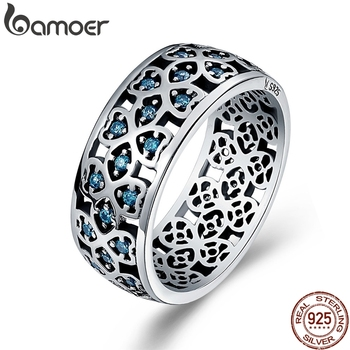 BAMOER 100% 925 Sterling Silver Petals of Love Sweet Clover Blue CZ Finger Rings for Women Engagement Jewelry S925 Gift SCR064 - discount item  36% OFF Fine Jewelry