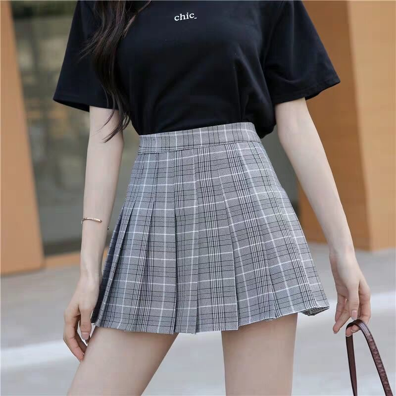 Sexy women short skirt cute female pleated skirt spring and autumn high waist solid color mini skirt summer female skirt 5