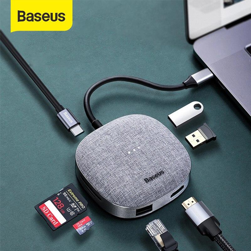 Baseus USB 3.0 HUB Multi 7 Ports USB C HUB TF SD Card Reader Fabric For Macbook Pro HUB USB C Laptop Accessories USB Splitter