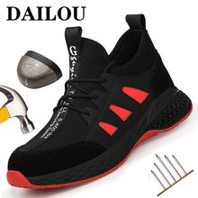 Work Safety Shoes For Men Breathable Men's Work Boots Working Shoes Steel Toe Anti-Smashing Construction Safety Work Sneakers