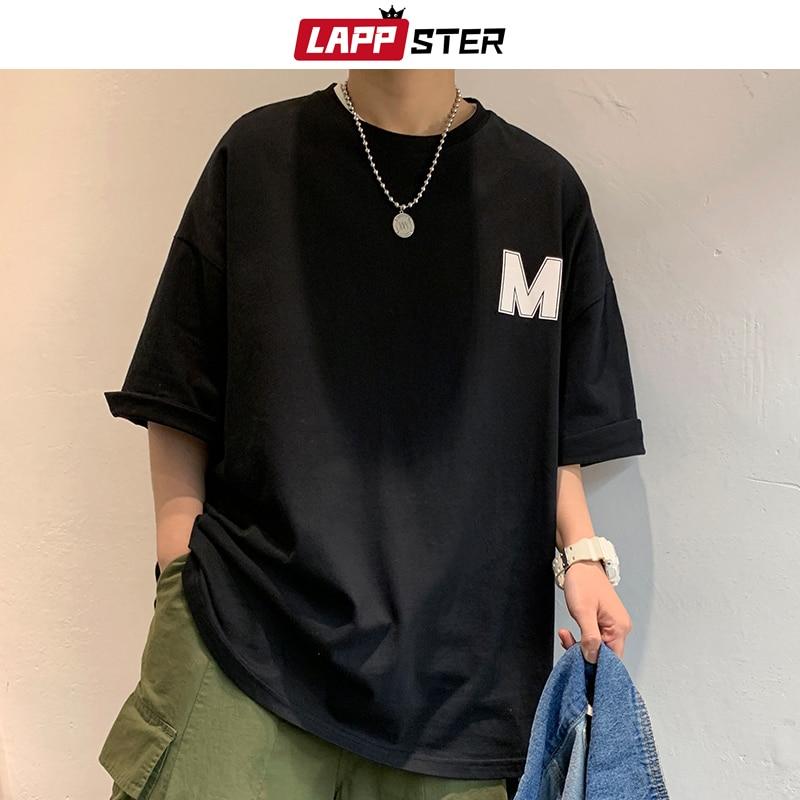 LAPPSTER Men Harajuku M Print Summer T Shirt Tees 2020 Mens Black Korean Fashions Funny Top Tshirts Japanese Streetwear Clothing