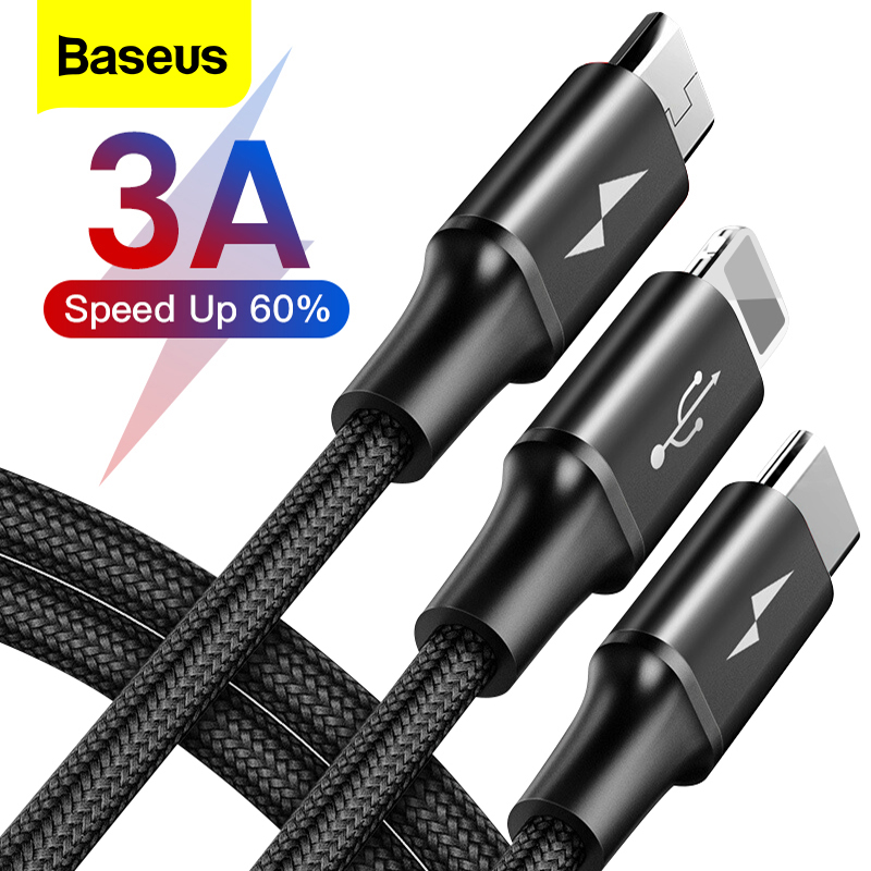 Baseus 3 in 1 USB Cable For iPhone Samsung Xiaomi Multi Fast Charge Charger Micro USB Cable 2 in 1 Mobile Phone USB Type C Cable|Mobile Phone Cables| |  - AliExpress