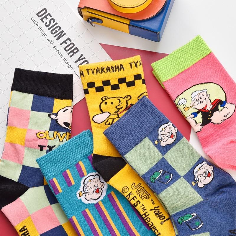 SP&CITY 5 Pairs Korean Style Women Funny Socks Cartoon Pattened Cotton Socks Original Streetwear Hipster Unisex Personality Sox