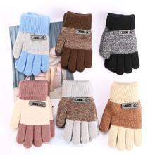 6 цветов, теплые вязаные перчатки для мальчиков, детские зимние толстые перчатки с защитой пальцев, популярные перчатки высокого качества
