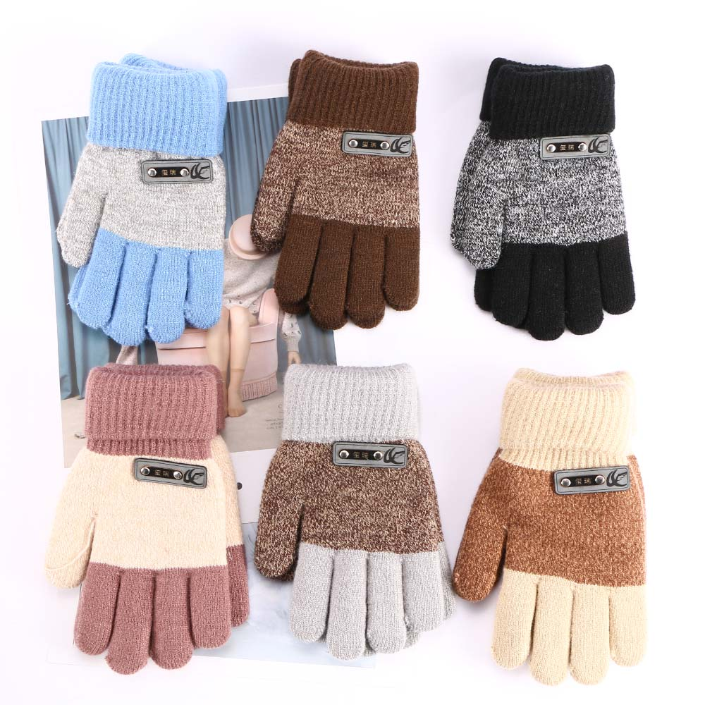 6 Colors Boys Kids Warm Knitted Gloves Children Winter Thick Full Mitten Finger Protector Popular Gloves High Quality