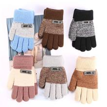 Knitted Gloves Warm Full-Mitten Winter Children Thick Boys 6-Colors Finger-Protector